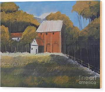 Wood Print featuring the painting Farm With Red Barn by Pamela  Meredith