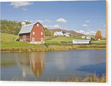 Wood Print featuring the photograph Farm With Red Barn by Robert Camp
