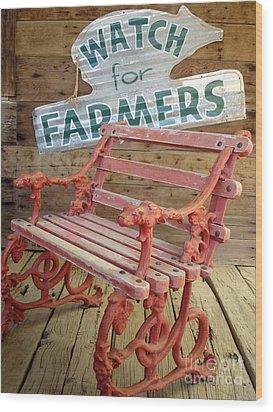Farmer Bench Wood Print by Kerri Mortenson