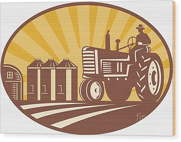 Farmer Driving Vintage Tractor Retro Woodcut Wood Print by Aloysius Patrimonio