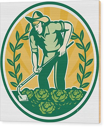 Farmer Gardener With Garden Hoe Cabbage Wood Print