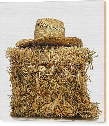 Farmer Hat On Hay Bale Wood Print by Olivier Le Queinec