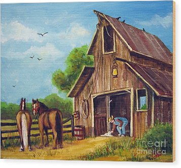 Wood Print featuring the painting Farmer Scene by Carol Hart