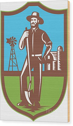 Farmer With Spade Windmill Farm Barn Retro Wood Print by Aloysius Patrimonio