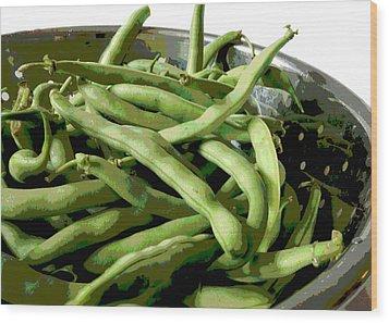 Farmers Market Green Beans Wood Print by Ann Powell