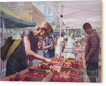 Farmer's Market Wood Print by Isabella Kung