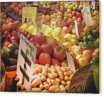 Farmers Market Wood Print by Karen Wiles