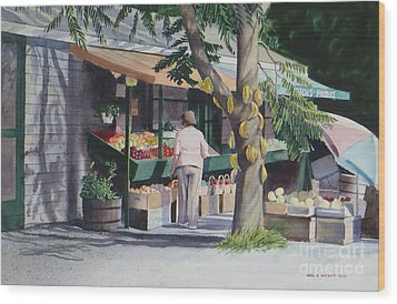 Farmer's Market Wood Print