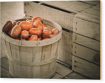 Farmers Market Plum Tomatoes Wood Print by Julie Palencia