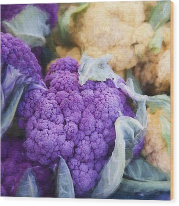 Farmers Market Purple Cauliflower Square Wood Print by Carol Leigh