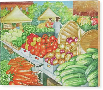 Wood Print featuring the painting Farmers Market View by Inese Poga