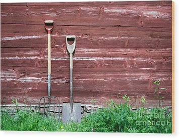 Wood Print featuring the photograph Farmers Old Tools by Kennerth and Birgitta Kullman