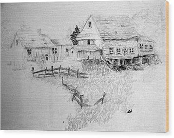 Farmhouse And Barn Wood Print by Joseph Hawkins