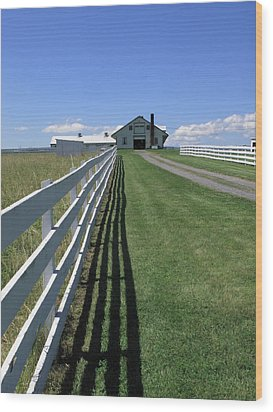 Farmhouse And Fence Wood Print by Frank Romeo