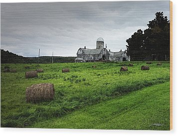 Farmhouse Bails Of Hay Wood Print by Michael Spano