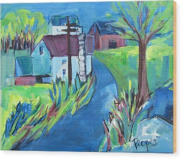 Farmhouse In Spring Again Wood Print by Betty Pieper