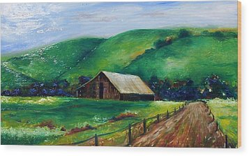 Wood Print featuring the painting Farmland by Emery Franklin