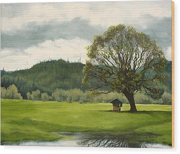 Wood Print featuring the mixed media Farmland Hwy 36 by Kenny Henson