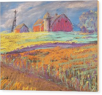 Farmland Sunset Wood Print