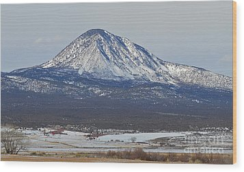 Farmland Under The Mountain Wood Print by Meandering Photography