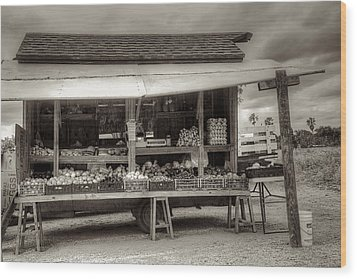 Farmstand Wood Print by William Wetmore
