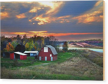 Farmstead At Sunset Wood Print by Julie Dant