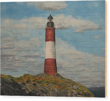Wood Print featuring the painting Faro Del Fin Del Mundo by Stan Tenney