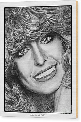 Wood Print featuring the drawing Farrah Fawcett In 1976 by J McCombie