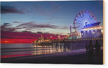 Ferris Wheel On The Santa Monica California Pier At Sunset Fine Art Photography Print Wood Print