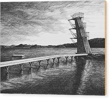 Wood Print featuring the drawing Farsund Badehuset In Ink by Janet King
