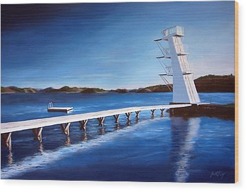 Wood Print featuring the painting Farsund Badehuset On A Sunny Day by Janet King