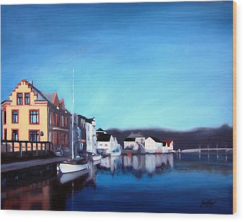 Farsund Dock Scene I Wood Print by Janet King