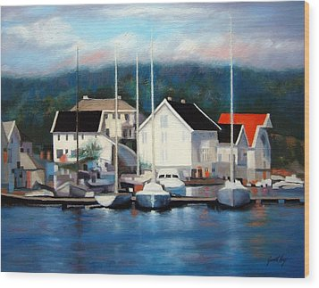 Farsund Dock Scene Painting Wood Print by Janet King