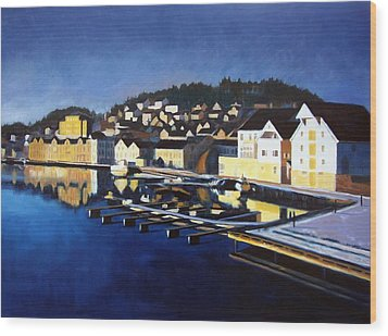 Wood Print featuring the painting Farsund In Winter by Janet King