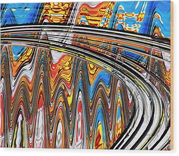 Wood Print featuring the digital art Highway To Nowhere Abstract by Gabriella Weninger - David