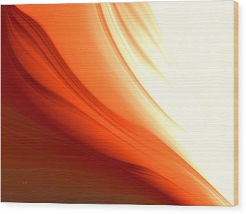 Wood Print featuring the digital art Glowing Orange Abstract by Gabriella Weninger - David