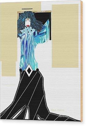 Fashion Angel Wood Print by Ann Calvo