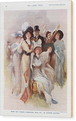 Fashion At Ascot Races 1911 1910s Uk Cc Wood Print by The Advertising Archives
