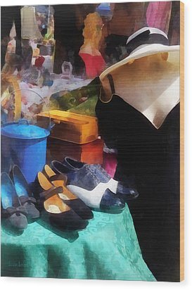 Fashion - Clothing For Sale At Flea Market Wood Print by Susan Savad