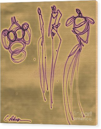 Fashion Graffiti In Purple Gold Wood Print by Cathy Peterson