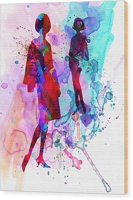 Fashion Models 8 Wood Print by Naxart Studio