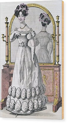Fashion Plate Of A Lady In Evening Wood Print by English School