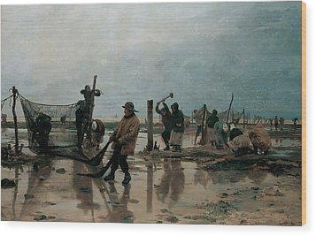 Fastening The Nets Wood Print by Edouard Joseph  Dantan