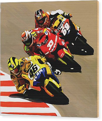 Faster  Valentino Rossi Wood Print by Iconic Images Art Gallery David Pucciarelli