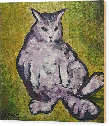 Wood Print featuring the mixed media Fat Cat by Kenny Henson