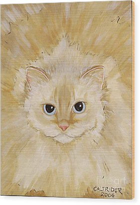 Wood Print featuring the painting Fat Kitty by Alison Caltrider