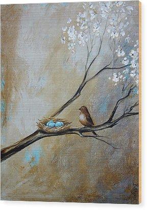 Fat Little Bird's Nest Wood Print