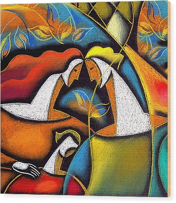 Father And Mother Wood Print by Leon Zernitsky