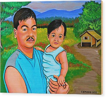 Father And Son Wood Print by Cyril Maza