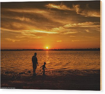 Wood Print featuring the photograph Father And Son by Linda Karlin